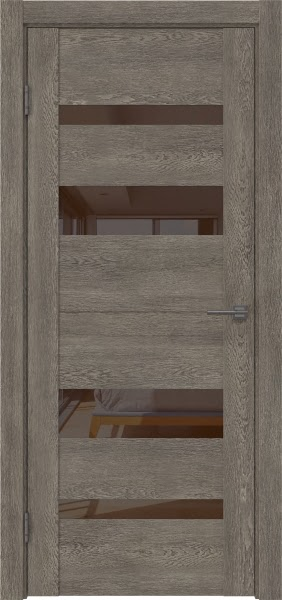 Межкомнатная дверь GM006 (экошпон «серый дуб» / лакобель коричневый)
