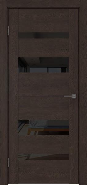 Межкомнатная дверь GM006 (экошпон «дуб шоколад» / лакобель черный)