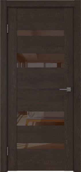 Межкомнатная дверь GM006 (экошпон «дуб шоколад» / лакобель коричневый)