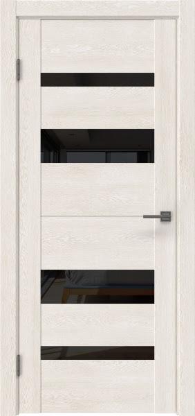 Межкомнатная дверь GM006 (экошпон «белый дуб» / лакобель черный)