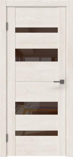 Межкомнатная дверь GM006 (экошпон «белый дуб» / лакобель коричневый)