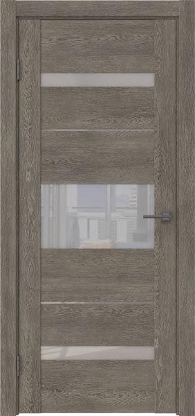 Межкомнатная дверь GM007 (экошпон «серый дуб» / лакобель белый)