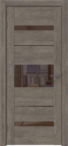 Межкомнатная дверь GM007 (экошпон «серый дуб» / лакобель коричневый)