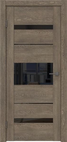 Межкомнатная дверь GM007 (экошпон «дуб антик» / лакобель черный)