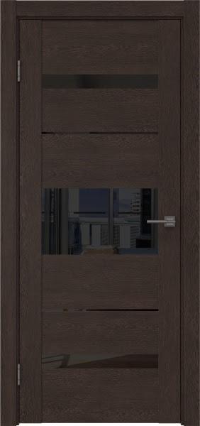 Межкомнатная дверь GM007 (экошпон «дуб шоколад» / лакобель черный)