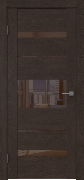 Межкомнатная дверь GM007 (экошпон «дуб шоколад» / лакобель коричневый)