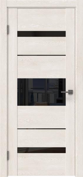 Межкомнатная дверь GM007 (экошпон «белый дуб» / лакобель черный)