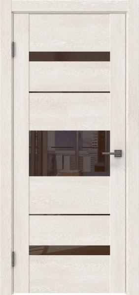 Межкомнатная дверь GM007 (экошпон «белый дуб» / лакобель коричневый)