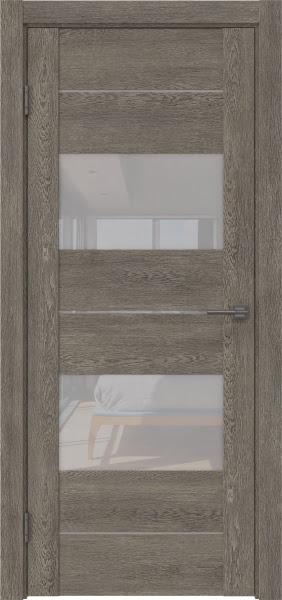 Межкомнатная дверь GM008 (экошпон «серый дуб» / лакобель белый)