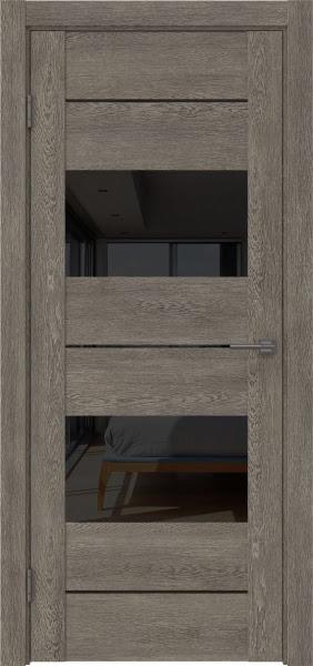 Межкомнатная дверь GM008 (экошпон «серый дуб» / лакобель черный)