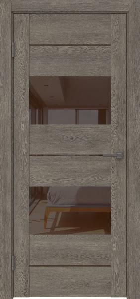 Межкомнатная дверь GM008 (экошпон «серый дуб» / лакобель коричневый)