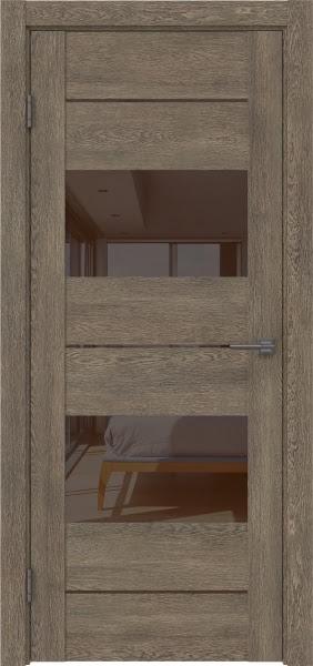 Межкомнатная дверь GM008 (экошпон «дуб антик» / лакобель коричневый)