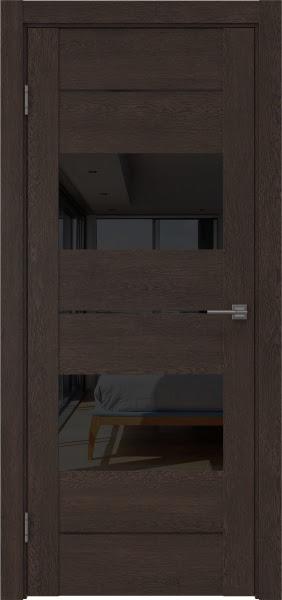 Межкомнатная дверь GM008 (экошпон «дуб шоколад» / лакобель черный)