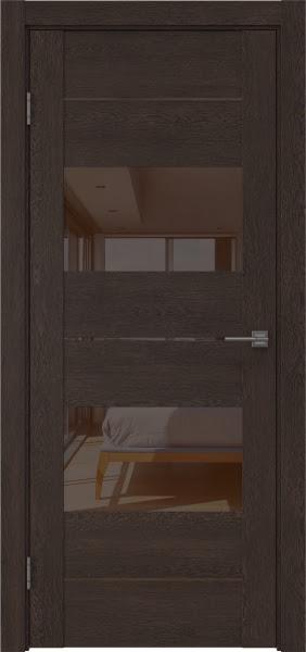 Межкомнатная дверь GM008 (экошпон «дуб шоколад» / лакобель коричневый)