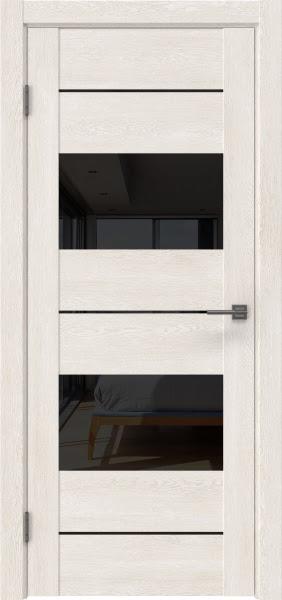 Межкомнатная дверь GM008 (экошпон «белый дуб» / лакобель черный)