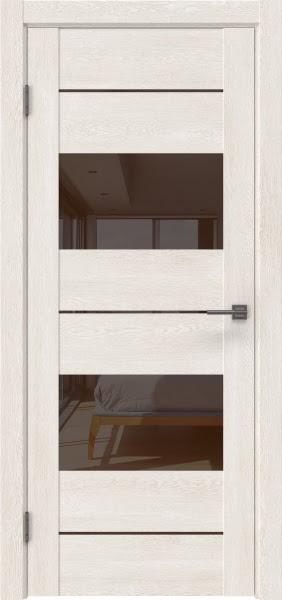 Межкомнатная дверь GM008 (экошпон «белый дуб» / лакобель коричневый)