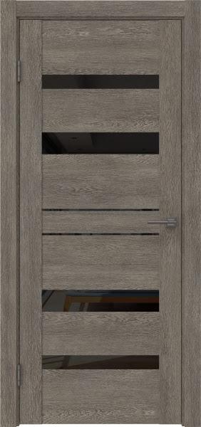 Межкомнатная дверь GM009 (экошпон «серый дуб» / лакобель черный)