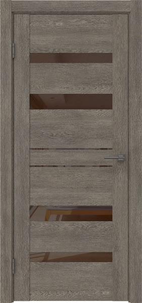 Межкомнатная дверь GM009 (экошпон «серый дуб» / лакобель коричневый)