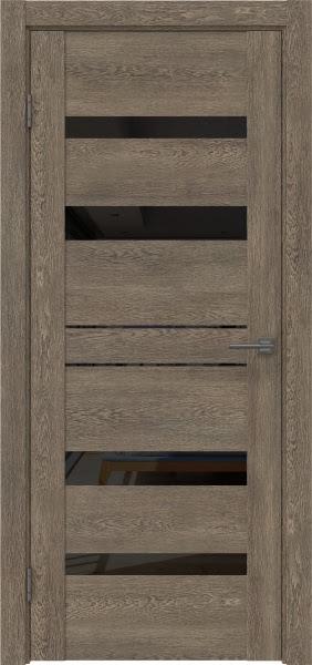 Межкомнатная дверь GM009 (экошпон «дуб антик» / лакобель черный)
