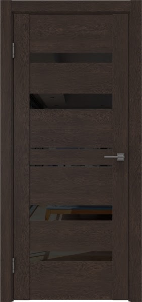 Межкомнатная дверь GM009 (экошпон «дуб шоколад» / лакобель черный)