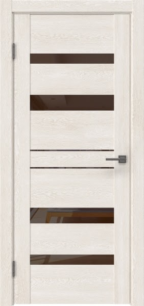 Межкомнатная дверь GM009 (экошпон «белый дуб» / лакобель коричневый)