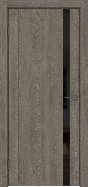 Межкомнатная дверь GM010 (экошпон «серый дуб» / лакобель черный)