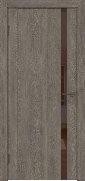 Межкомнатная дверь GM010 (экошпон «серый дуб» / лакобель коричневый)