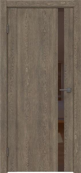 Межкомнатная дверь GM010 (экошпон «дуб антик» / лакобель коричневый)