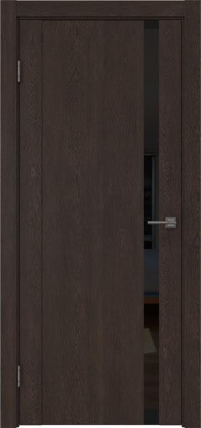 Межкомнатная дверь GM010 (экошпон «дуб шоколад» / лакобель черный)