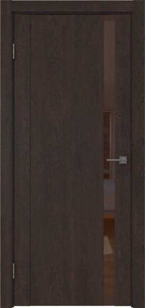 Межкомнатная дверь GM010 (экошпон «дуб шоколад» / лакобель коричневый)