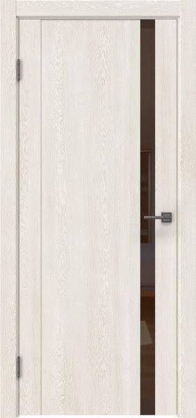 Межкомнатная дверь GM010 (экошпон «белый дуб» / лакобель коричневый)