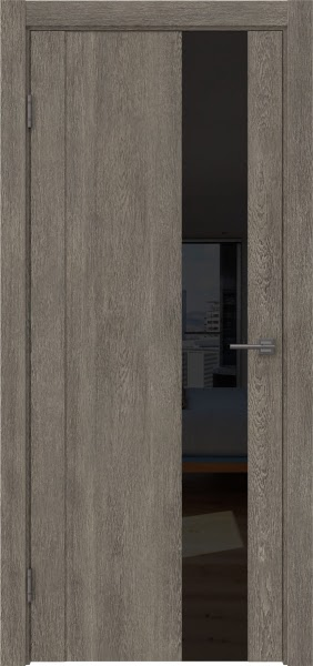 Межкомнатная дверь GM011 (экошпон «серый дуб» / лакобель черный)