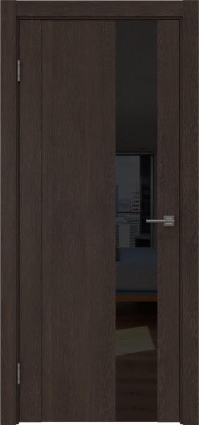 Межкомнатная дверь GM011 (экошпон «дуб шоколад» / лакобель черный)