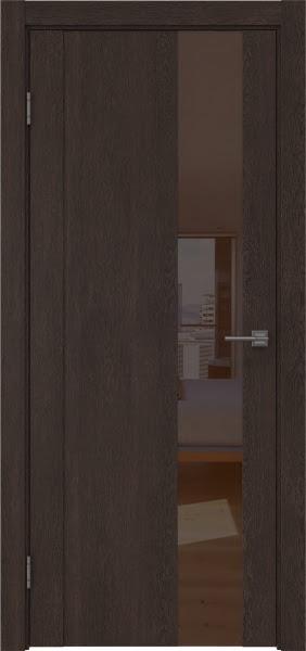 Межкомнатная дверь GM011 (экошпон «дуб шоколад» / лакобель коричневый)