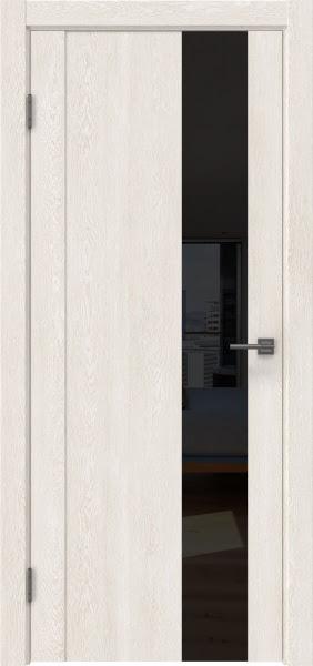 Межкомнатная дверь GM011 (экошпон «белый дуб» / лакобель черный)