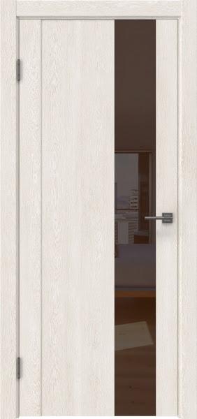 Межкомнатная дверь GM011 (экошпон «белый дуб» / лакобель коричневый)