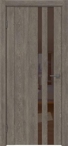 Межкомнатная дверь GM012 (экошпон «серый дуб» / лакобель коричневый)