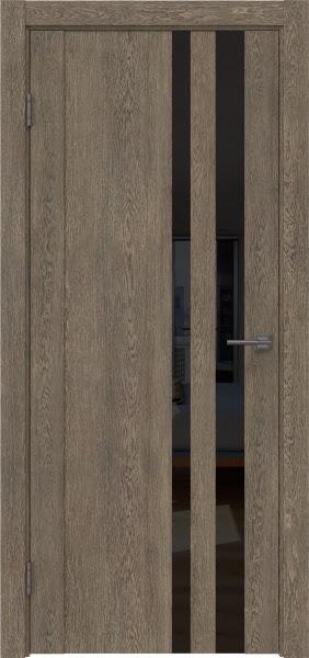 Межкомнатная дверь GM012 (экошпон «дуб антик» / лакобель черный)