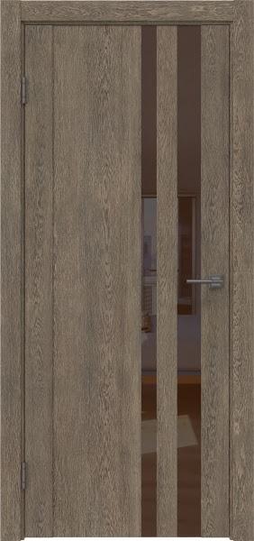 Межкомнатная дверь GM012 (экошпон «дуб антик» / лакобель коричневый)