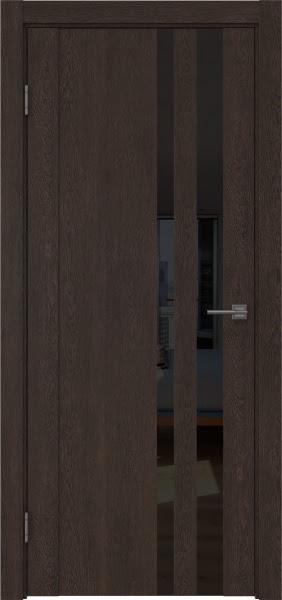 Межкомнатная дверь GM012 (экошпон «дуб шоколад» / лакобель черный)