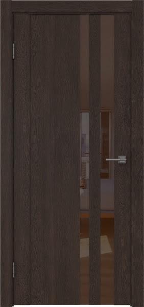 Межкомнатная дверь GM012 (экошпон «дуб шоколад» / лакобель коричневый)