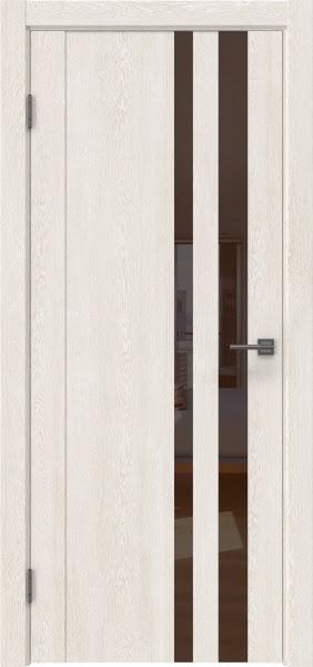 Межкомнатная дверь GM012 (экошпон «белый дуб» / лакобель коричневый)