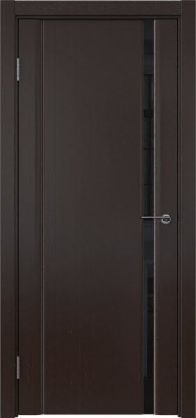 Межкомнатная дверь GM015 (шпон венге / триплекс черный)