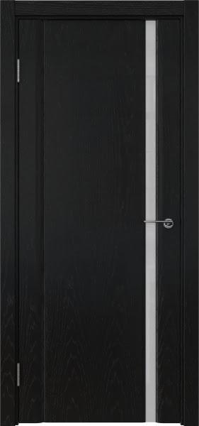 Межкомнатная дверь GM015 (шпон ясень черный / триплекс белый)