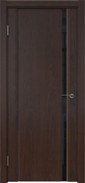 Межкомнатная дверь GM015 (шпон дуб коньяк / триплекс черный)