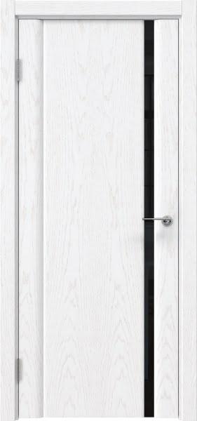 Межкомнатная дверь GM015 (шпон ясень белый / триплекс черный)