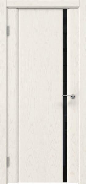 Межкомнатная дверь GM015 (шпон ясень слоновая кость / триплекс черный)
