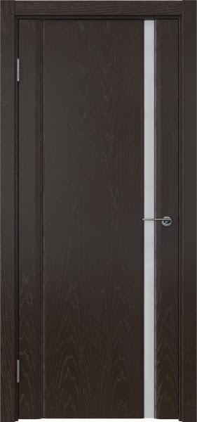 Межкомнатная дверь GM015 (шпон ясень темный / триплекс белый)