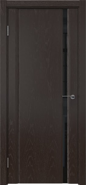 Межкомнатная дверь GM015 (шпон ясень темный / триплекс черный)