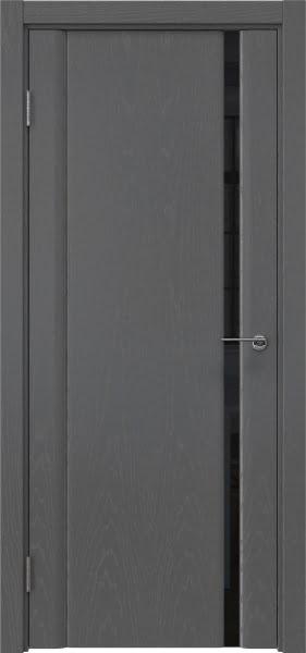Межкомнатная дверь GM015 (шпон ясень серый / триплекс черный)